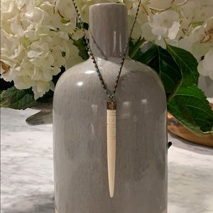 Long turquoise, brown and ivory necklace